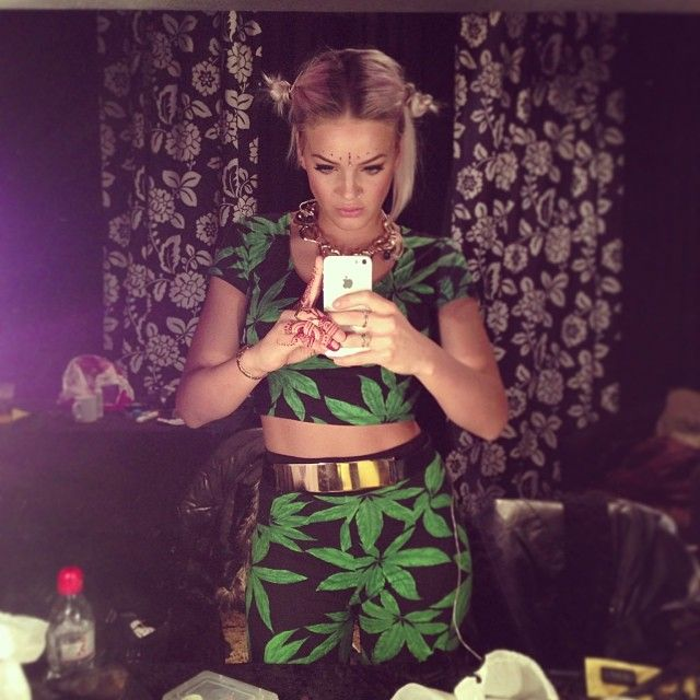 Motel Loves: Anne-Marie from Rudimental in Green Palm Print