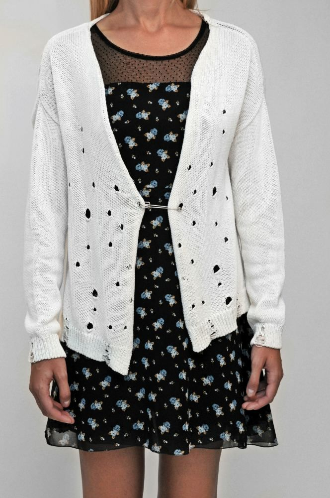 White Cardigan With Holes