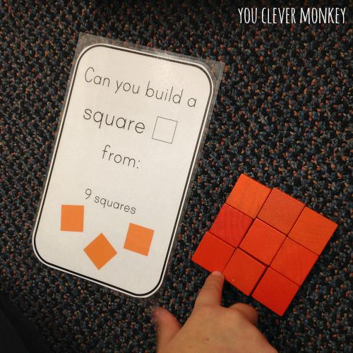 Free Printable 2D Shape Challenge Cards - perfect for use with wooden pattern blocks. Visit www.youclevermonkey.com for more
