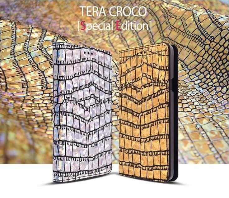 SAUVANUEL TERA CROCO HOLOGRAM GENUINE LEATHER PHONE CASE FOR LG G FLEX 2