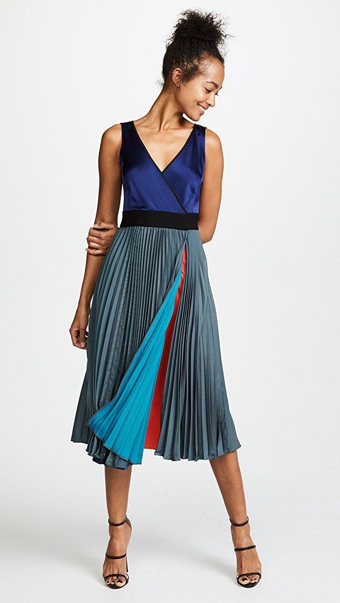 Diane Von Furstenberg Sleeveless V Neck Pleated Wrap Dress Bop
