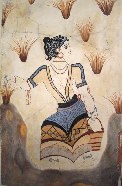 """Adult Saffron-Gatherer"", detail from the ""Saffron-Gatherers"", wall-painting from Thera, Greece, c.1650 B.C."