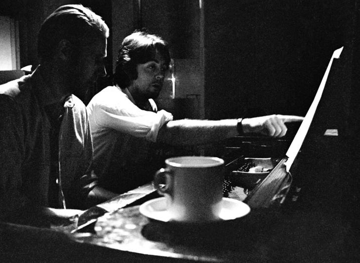 """Paul with George Martin at the piano, during recording sessions for the album """"The Beatles"""" (White Album) - The Beatles"""