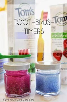 Use glitter glue, glitter and water to make these tiny toothbrush timers. It takes 2 minutes for the glitter to swirl and settle to the bottom. Kids can watch as they brush their teeth and they know when to stop!