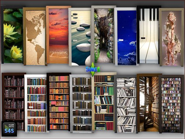 Arte Della Vita: 2 sets of doors with wallcoverings • Sims 4 Downloads