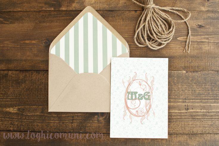 M&G avevano il desiderio di realizzare gli #inviti del loro #matrimonio facendo un tuffo nell'epoca #liberty, condita dai colori tenui della salvia e della pesca.