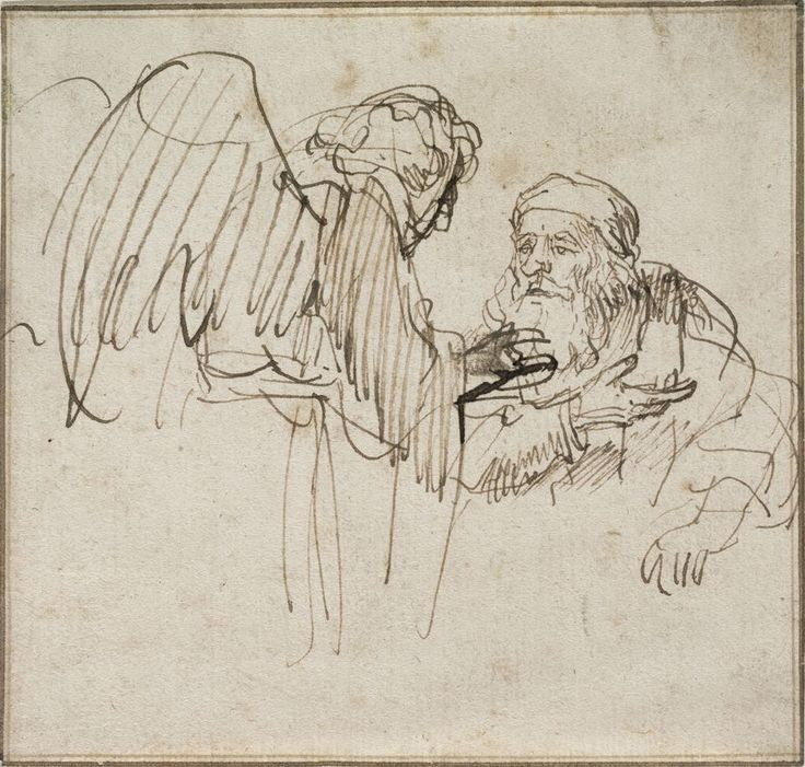 Rembrandt – Zacharias (?) and the Angel, 1635c, brown ink, 10.9x11.5 cm | Harvard Art Museums - Fogg Museum, Cambridge MA