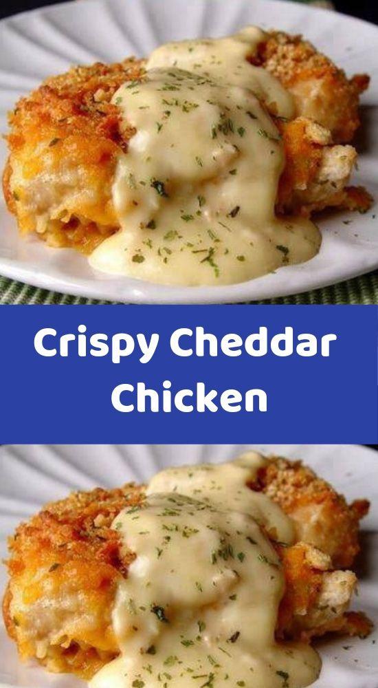 Crispy Cheddar Chicken Ingredients: 5 chicken breasts 2 sleeves Ritz crackers, c…