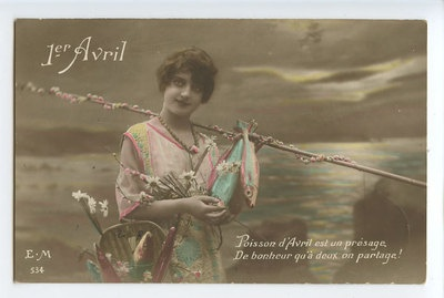 Edwardian Lady April Fool Day Lucky Fish original vintage 1910 photo postcard ac