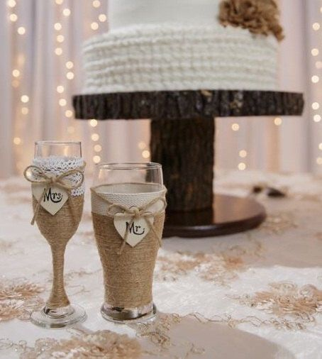 Wedding Champagne Glass and Beer Glass / Rustic Wedding Glasses / Champagne Flute / Country Wedding Toasting Glasses / Rustic Wedding Table by CarolesWeddingWhimsy on Etsy https://www.etsy.com/listing/238625748/wedding-champagne-glass-and-beer-glass