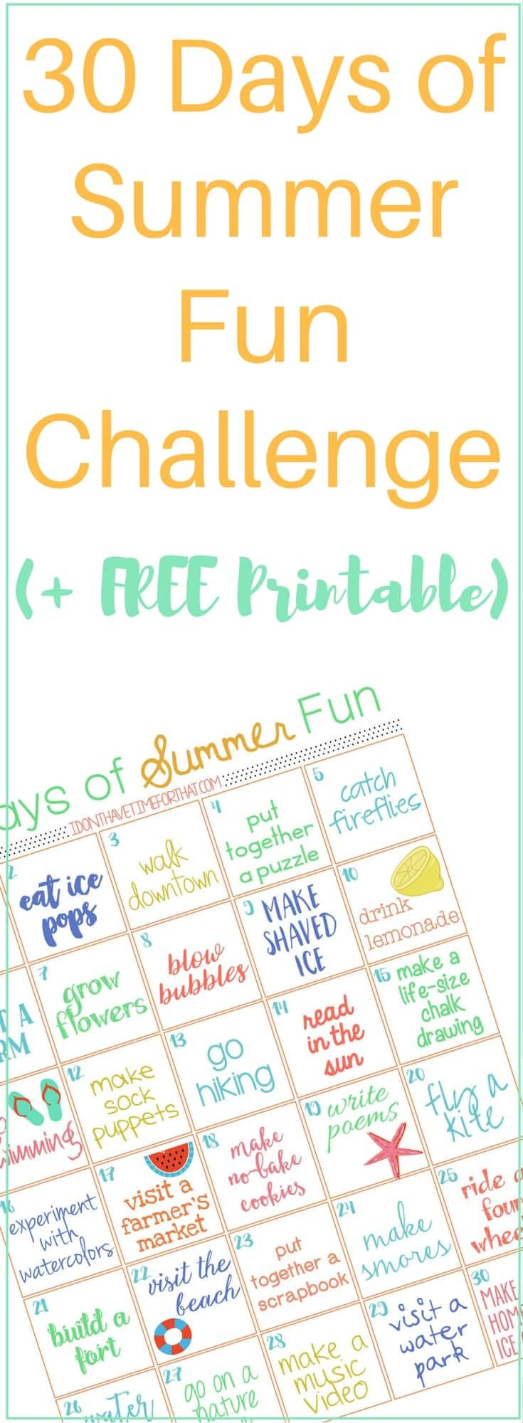 "This year skip the ""I'm bored!""and break the summer funk cycle with a 30 days of Summer Fun Challenge (with free printable)!"