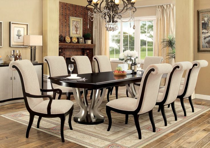 Choncey 9 Piece Extendable Dining Set Upholstery Ideas Dining Table Dining Chairs Dining Room Sets