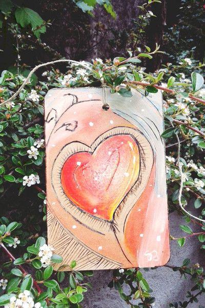 """Decorazioni da parete - quadretto """"cuore felice"""" pezzo unico - un prodotto unico di barbarasanti su DaWanda #heart #cuore #love #italiandesign #madeinitaly #barbarasanti"""