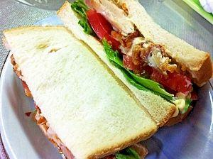 「簡単!鶏から揚げサンドイッチ」男性でも簡単に作れます子供のためにつくったら 喜びますよ!【楽天レシピ】