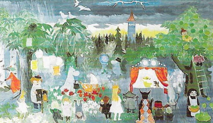 Tove Jansson_Pori_1984_draft_spring ----In 1984, 70 year old Tove Jansson painted her last monumental work for the Taikurin hattu (Hobgoblin's hat) kindergarten in Pori, Finland. Three-part mural presents Moominvalley in spring, summer and autumn.