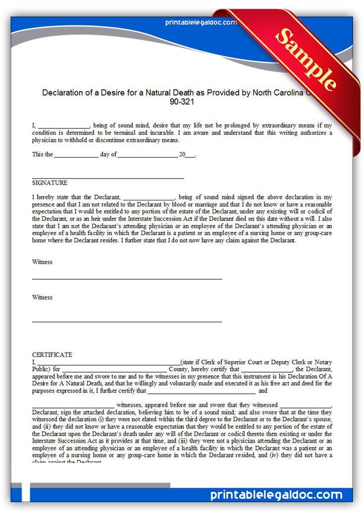 Free Printable Life Sustaining Statute North Carolina  Sample