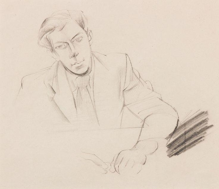 John MINTON (1917-1957) Seated man. Pencil. Circa 1950.