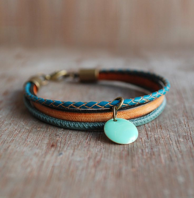 Orange Thyme * womens boho leather bracelet //  turquoise / layered bracelet //  gifts for her // summer fashion by picturing on Etsy https://www.etsy.com/listing/223488856/orange-thyme-womens-boho-leather