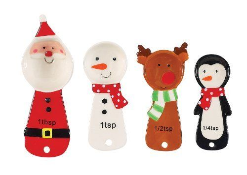 Boston Warehouse Holly Jolly Measuring Spoon Set by Boston Warehouse. $14.99. Hand painted earthenware. By Boston Warehouse creative ideas for home entertaining. Set arrives tied with a ribbon. Set of 4 measuring spoons includes 1/4 tsp, 1/2 tsp, 1 tsp and 1 tbsp. Hand wash recommended. Why should cooking tools be boring. Forget about boring with Boston Warehouse's Holly Jolly Measuring Spoon Set. This set has a super fun Holiday design and is great for measuri...