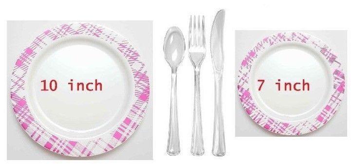 Bulk Dinner Wedding Disposable Plastic Plates Silverware Party Checker Design | Plastic plates  sc 1 st  Pinterest & Bulk Dinner Wedding Disposable Plastic Plates Silverware Party ...