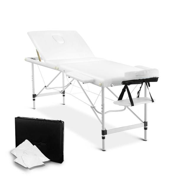 Portable Aluminium 3 Fold Massage Table Chair Bed White 75cm – Click Online Sales