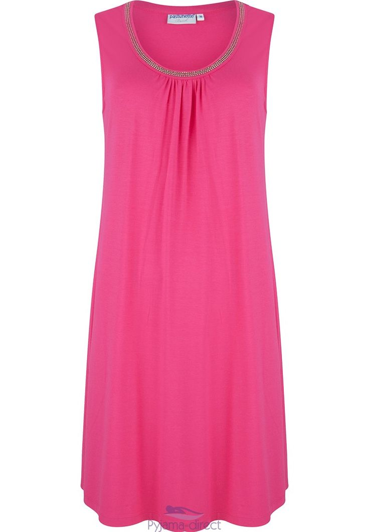 Pastunwtte Beach sleeveless dress with pretty bead detailing around the nedkline