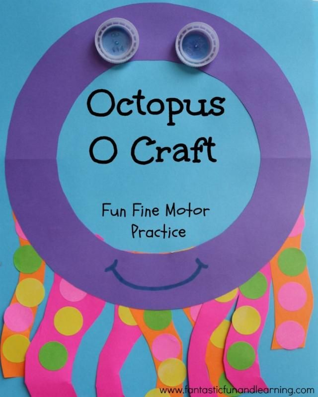 Octopus O Craft: Fine motor practice with cutting and stickers