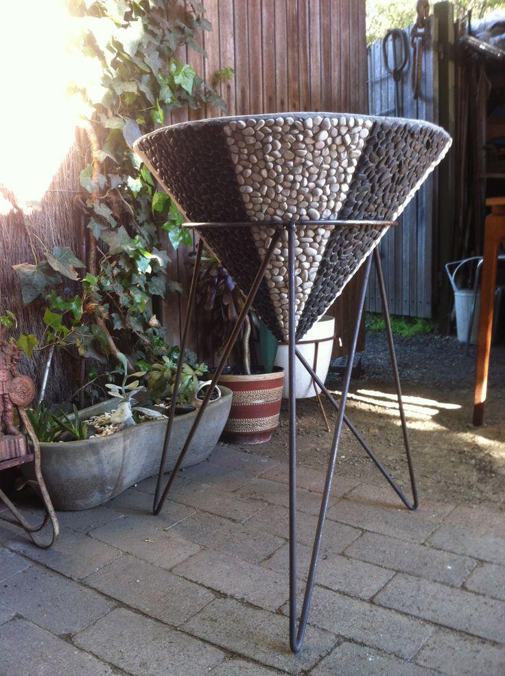 custom Kurrlson iron rod planter stand with hand pebbled vintage concrete cone planter
