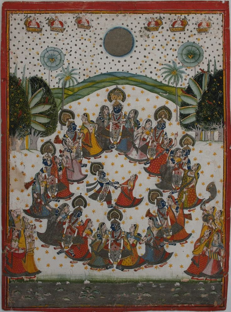 Rasalila: celestial beings pour stars onto Krishna and gopis who Krishna has made believe dance alone with him. Nathdwara, 19th century.