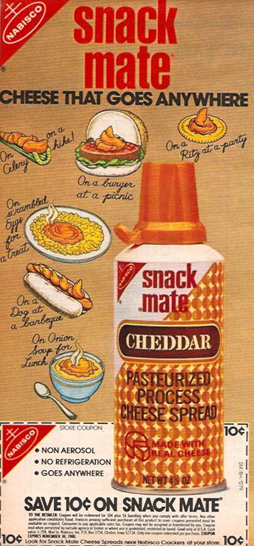 70's snack foods | 1979 Nabisco Snack Mate Cheese Spread Magazine Ad Coupon
