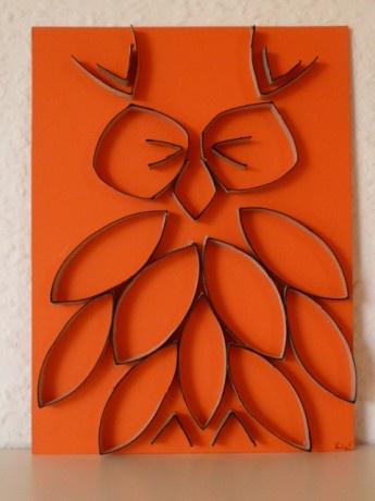 Owl wall art Toilet Paper Roll Art TP Tube idea