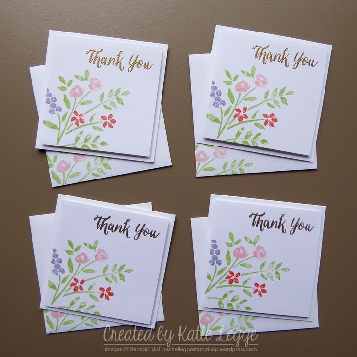 """Stampin' Up! Quick and Simple 3x3"""" Floral Thank You Card   Using the new Number of Years stamp set from the 2016 Occasions Catalogue   Created by Katie Legge #2016Occasions #StampinUp rachelleggestampinup.wordpress.com"""