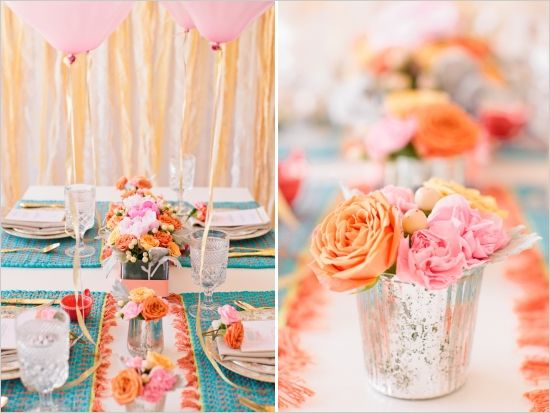 color scheme, florals, gold/silver/pattern mix {perfection} | wedding chicks
