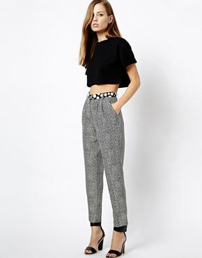 Whistles Trousers in Spot and Chevron Print