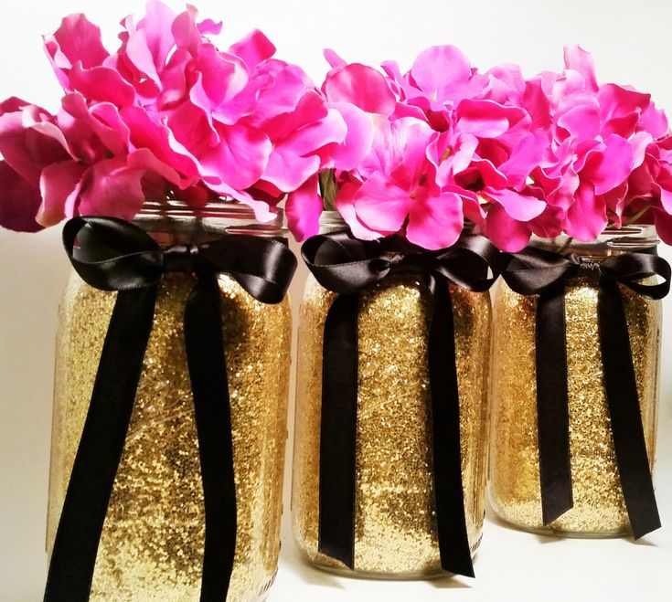 Mason Jar Wedding Centerpieces,  Gold and Black Centerpieces, Birthday Party Decor, Graduation Party Decorations, Table Decor, Set of 3 by LimeAndCo on Etsy https://www.etsy.com/listing/240499061/mason-jar-wedding-centerpieces-gold-and