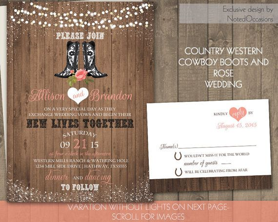 Country Western Wedding Invitations Cowboy Boots And A Coral Rose Wedding  Design   On Wood Grain