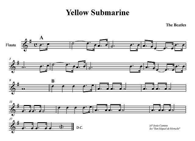 Yellow Submarine. Partitura Para Flauta. Melodía