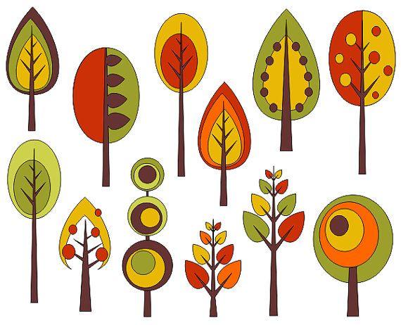 Retro Trees Clip Art, Autumn Trees Digital Clip Art, Fall Clip Art - YDC075