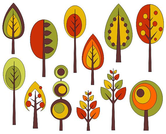 Retro Trees Clip Art, Autumn Trees Digital Clip Art, Fall Clip Art - YDC075                                                                                                                                                                                 More