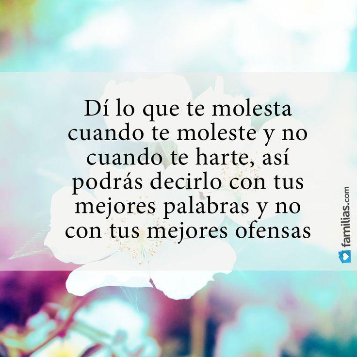 Di lo que te molesta cuando te moleste y no cuando te harte, así podrás decirlo con tus mejores palabras y no con tus mejores ofensas. #frases #madurez