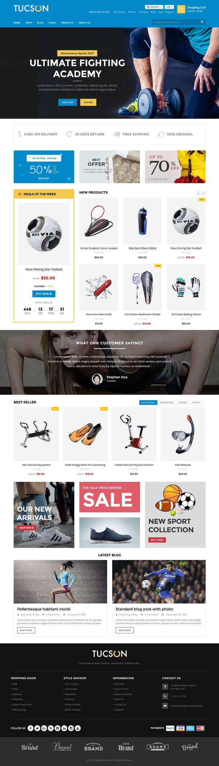 Tucson WordPress Theme This is a responsive WordPress theme designed for sports stores, sports shops, gyms and businesses selling sports gear, sportswear, equipment, gymming tools and other re... #webdesign #uidesign #website