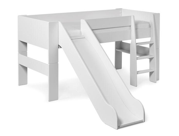 Produktbild - Saga, Loftsäng med stege och rutschkana
