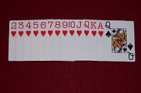 The Hearts penalty cards; the object of Hearts is to avoid taking tricks containing any of these cards