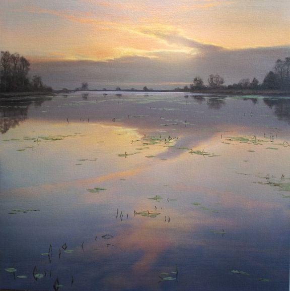 Renato Muccillo Flotilla At Dusk 18 x 18 Oil on linen