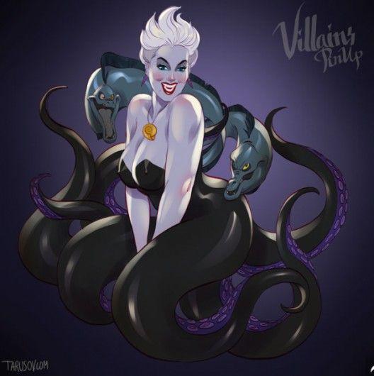 Ursula, De Kleine Zeemeermin - Zo zien Disney-schurken eruit als pin-up modellen - Nieuws - Lifestyle