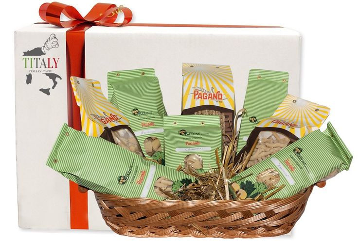 """GIFT BOX """"ARTISAN PASTA OF NAPLES"""" Gift box with wicker basket containing 4 kg of Artisan Pasta of Naples, composed by the most used formats in the traditional cuisine of Campania:  1 pack 500g calamarata 1 pack 500g maccheroni 1 pack 500g paccheroni 1 pack 500g fusilli lunghi 1 pack 500g ammiscata 1 pack 500g linguine 1 pack 500g gnocchi 1 pack 500g napoletani #Titaly"""