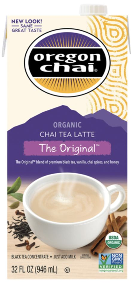 Oregon Chai's Original Chai Tea features a flavorful blend of spices, black tea and honey in every sip.