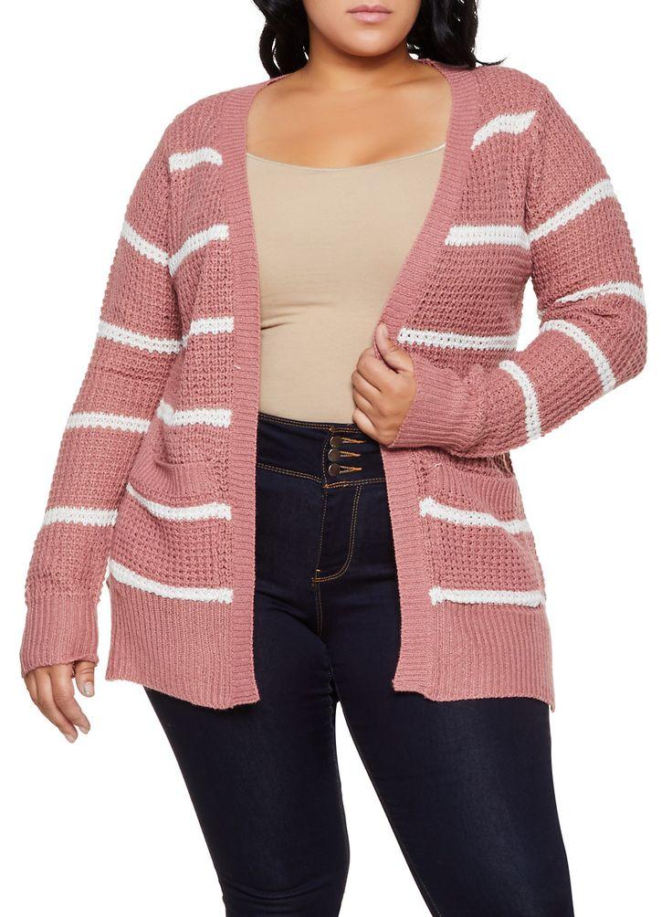 Plus Size Striped Knit Cardigan | 3920038349205 - Pink - Size 3X 1