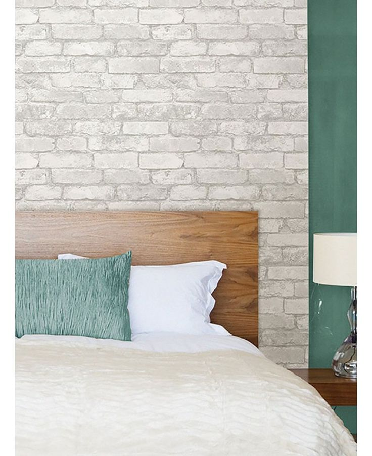 the design features a realistic rustic brick wall effect in tones of grey and white ideal for feature walls