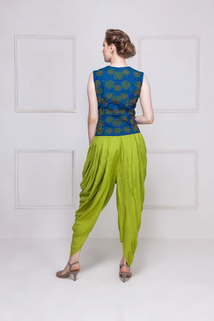 HOUSE OF OMBRE. Blue & green embroidered vest top with green dhoti pants